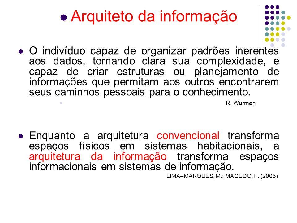 Arquiteto da informação O indivíduo capaz de organizar padrões inerentes aos dados, tornando clara sua complexidade, e capaz de criar estruturas ou planejamento de informações que permitam aos outros encontrarem seus caminhos pessoais para o conhecimento.