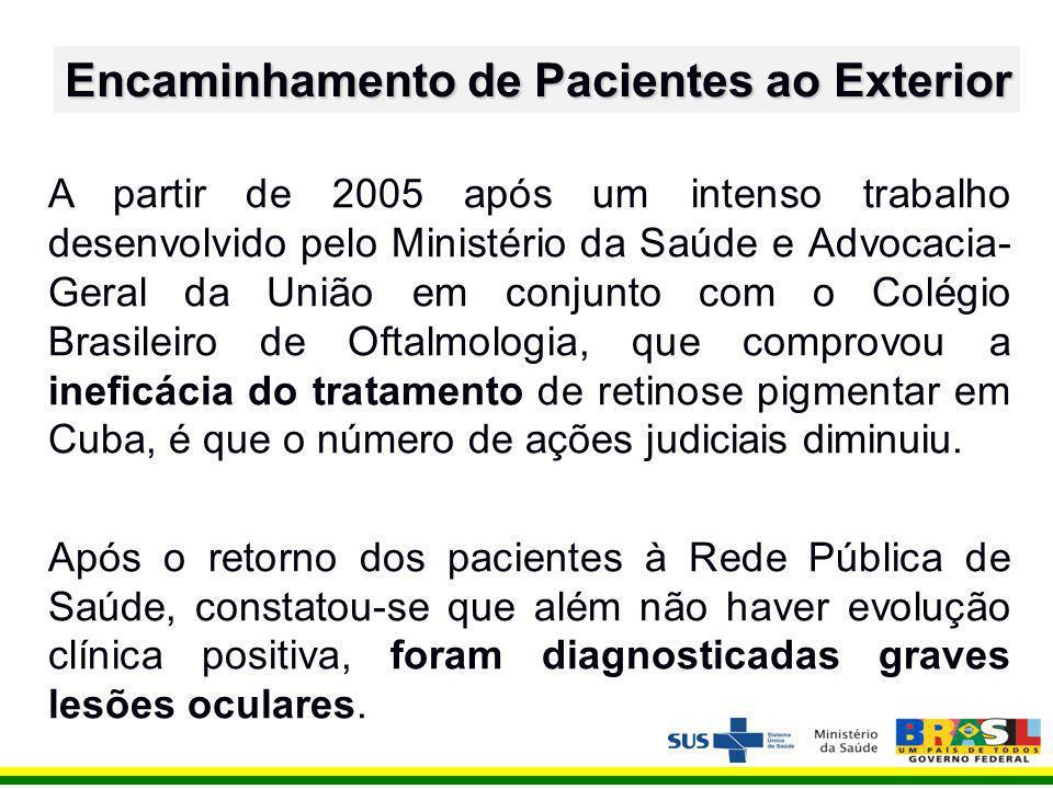 A partir de 2005 após um intenso trabalho desenvolvido pelo Ministério da Saúde e Advocacia- Geral da União em conjunto com o Colégio Brasileiro de Oftalmologia, que comprovou a ineficácia do tratamento de retinose pigmentar em Cuba, é que o número de ações judiciais diminuiu.