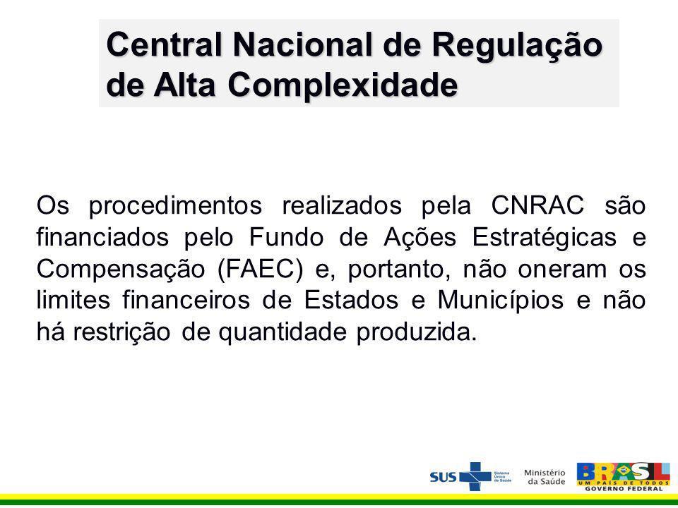Os procedimentos realizados pela CNRAC são financiados pelo Fundo de Ações Estratégicas e Compensação (FAEC) e, portanto, não oneram os limites financeiros de Estados e Municípios e não há restrição de quantidade produzida.