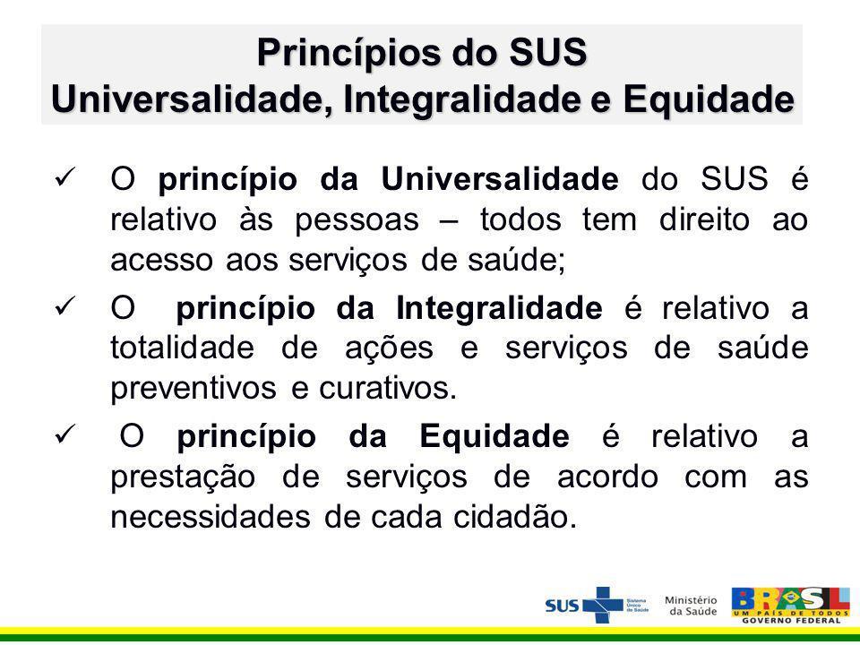 O princípio da Universalidade do SUS é relativo às pessoas – todos tem direito ao acesso aos serviços de saúde; O princípio da Integralidade é relativo a totalidade de ações e serviços de saúde preventivos e curativos.