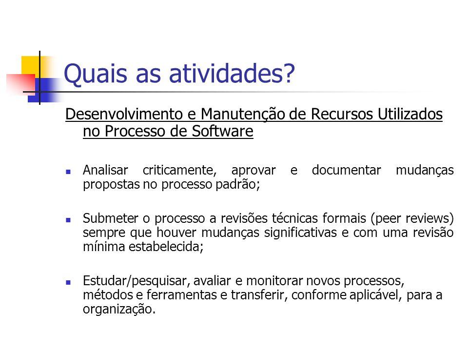 Quais as atividades? Desenvolvimento e Manutenção de Recursos Utilizados no Processo de Software Analisar criticamente, aprovar e documentar mudanças