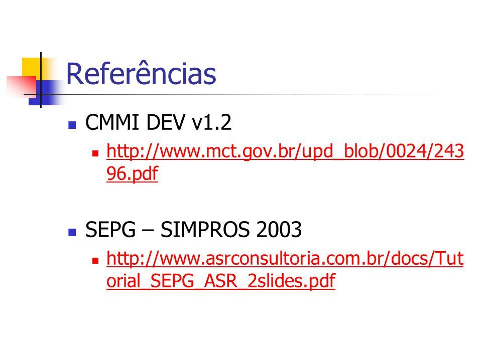 Referências CMMI DEV v1.2 http://www.mct.gov.br/upd_blob/0024/243 96.pdf http://www.mct.gov.br/upd_blob/0024/243 96.pdf SEPG – SIMPROS 2003 http://www