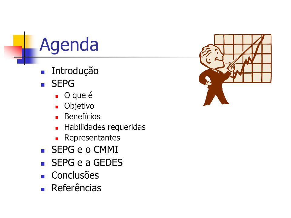 Agenda Introdução SEPG O que é Objetivo Benefícios Habilidades requeridas Representantes SEPG e o CMMI SEPG e a GEDES Conclusões Referências
