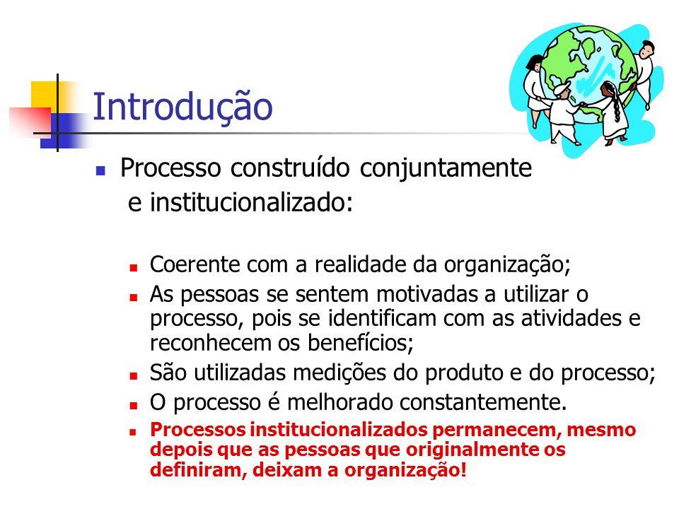 Introdução Processo construído conjuntamente e institucionalizado: Coerente com a realidade da organização; As pessoas se sentem motivadas a utilizar