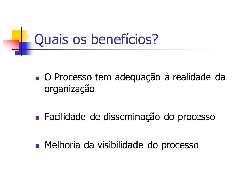 Quais os benefícios? O Processo tem adequação à realidade da organização Facilidade de disseminação do processo Melhoria da visibilidade do processo