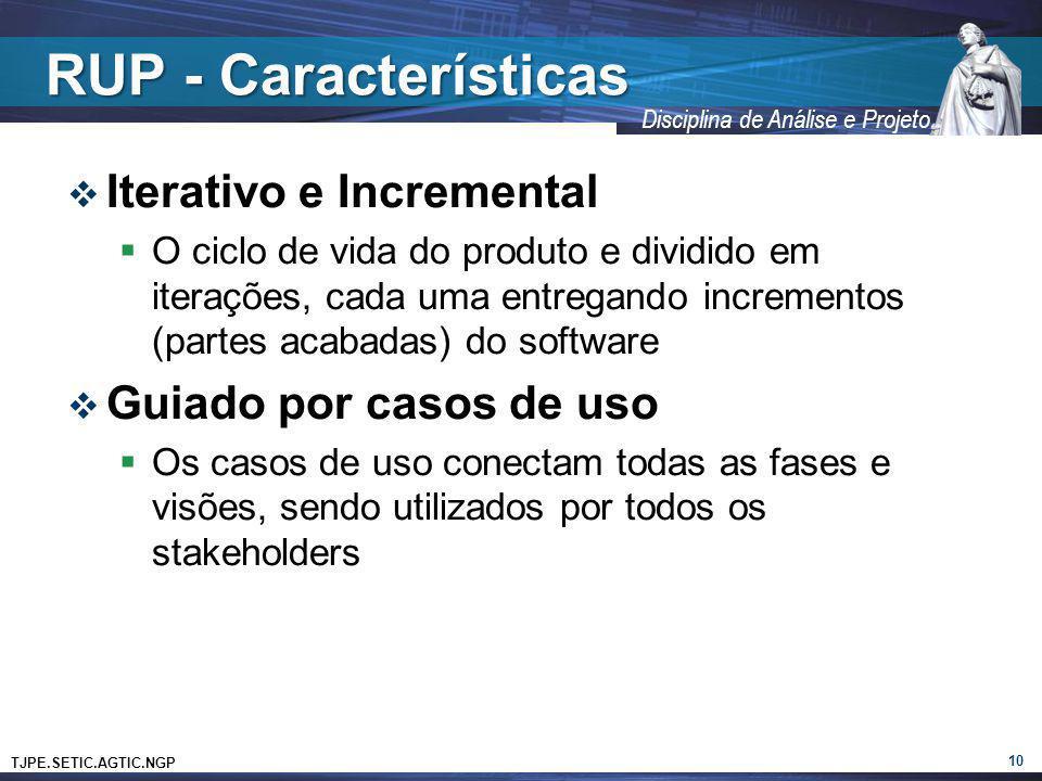 TJPE.SETIC.AGTIC.NGP Disciplina de Análise e Projeto RUP - Características Iterativo e Incremental O ciclo de vida do produto e dividido em iterações,