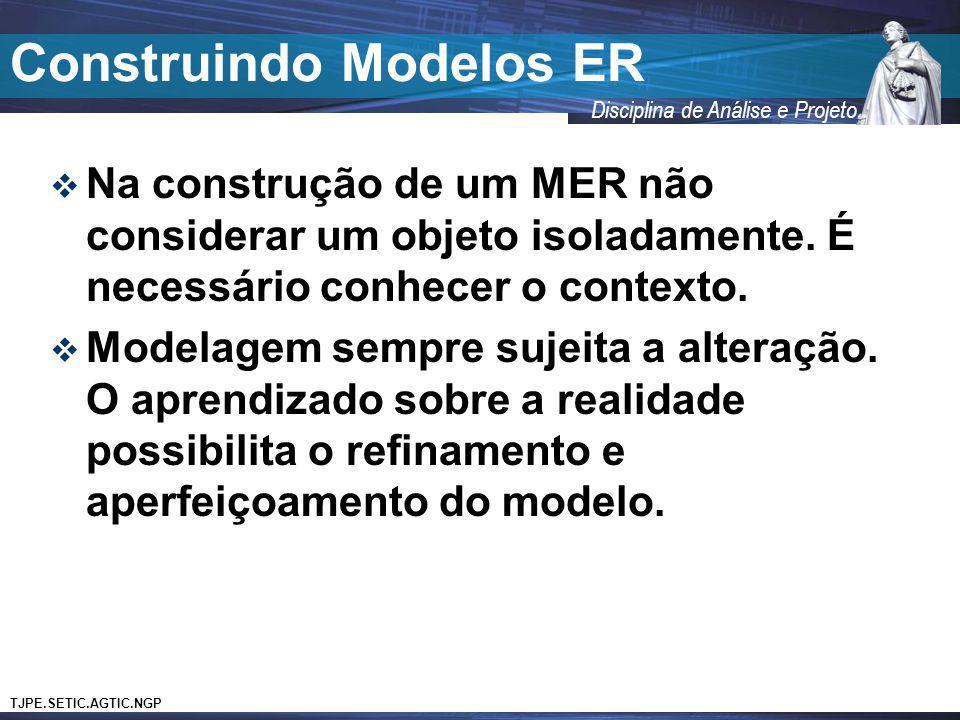 TJPE.SETIC.AGTIC.NGP Disciplina de Análise e Projeto Construindo Modelos ER Na construção de um MER não considerar um objeto isoladamente. É necessári