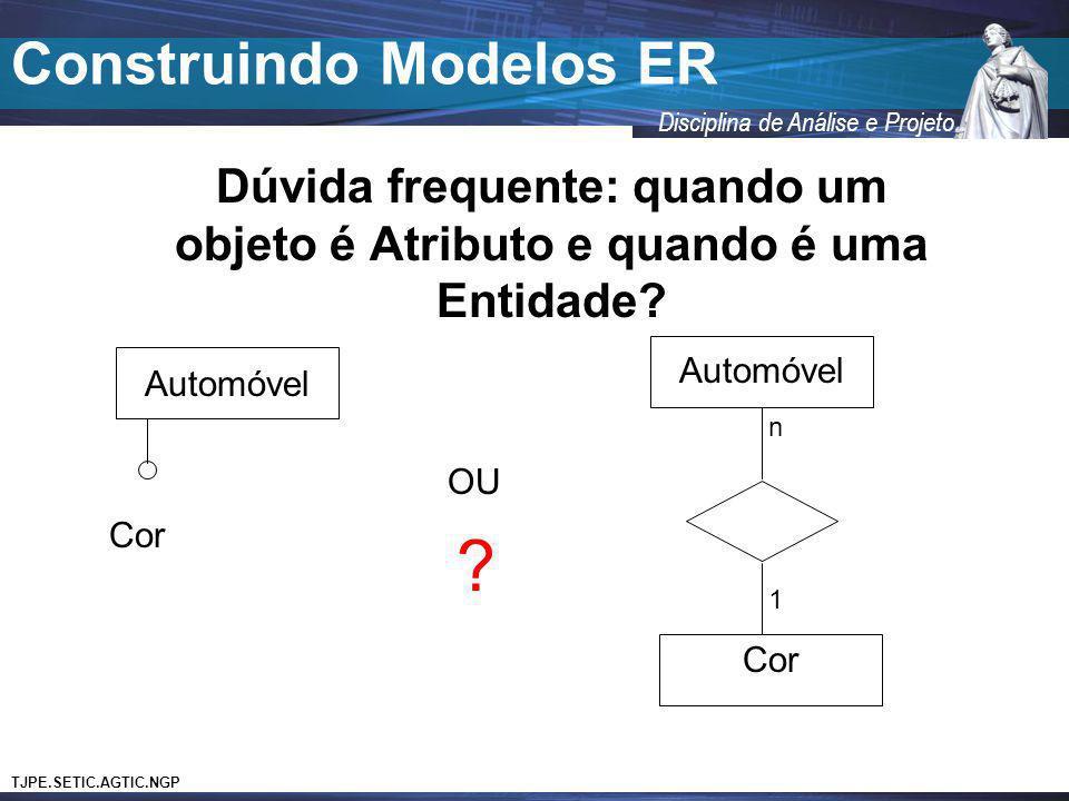 TJPE.SETIC.AGTIC.NGP Disciplina de Análise e Projeto Construindo Modelos ER Dúvida frequente: quando um objeto é Atributo e quando é uma Entidade? Aut