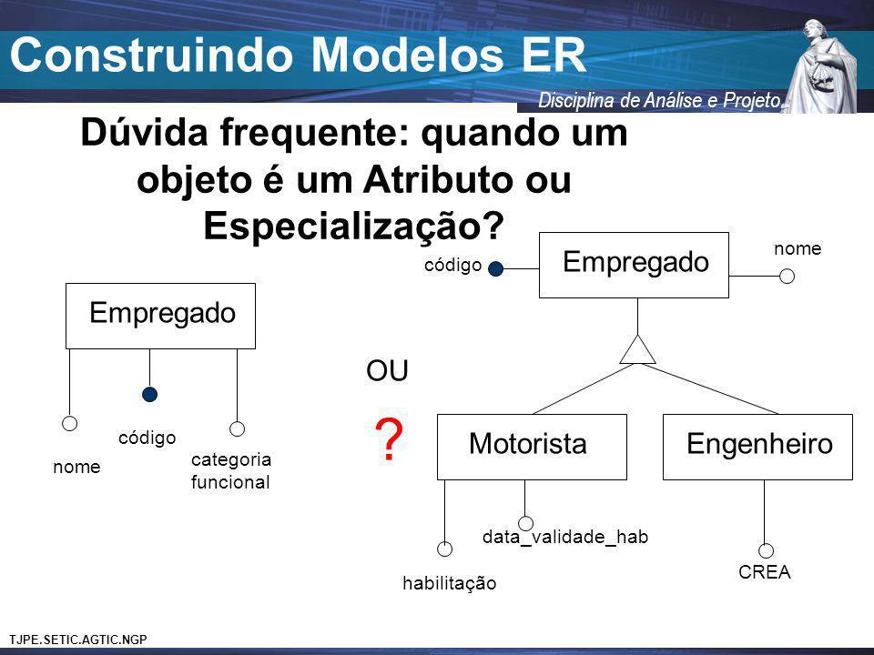 TJPE.SETIC.AGTIC.NGP Disciplina de Análise e Projeto Construindo Modelos ER Dúvida frequente: quando um objeto é um Atributo ou Especialização? Empreg