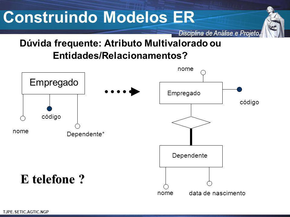 TJPE.SETIC.AGTIC.NGP Disciplina de Análise e Projeto Construindo Modelos ER Dúvida frequente: Atributo Multivalorado ou Entidades/Relacionamentos? Emp