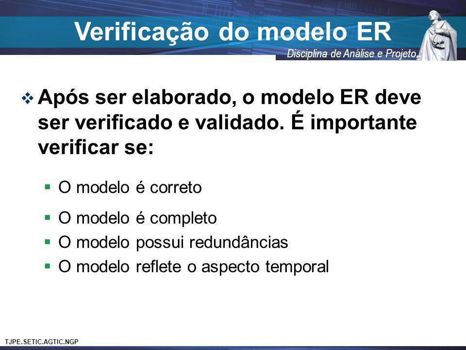 TJPE.SETIC.AGTIC.NGP Disciplina de Análise e Projeto Verificação do modelo ER Após ser elaborado, o modelo ER deve ser verificado e validado. É import