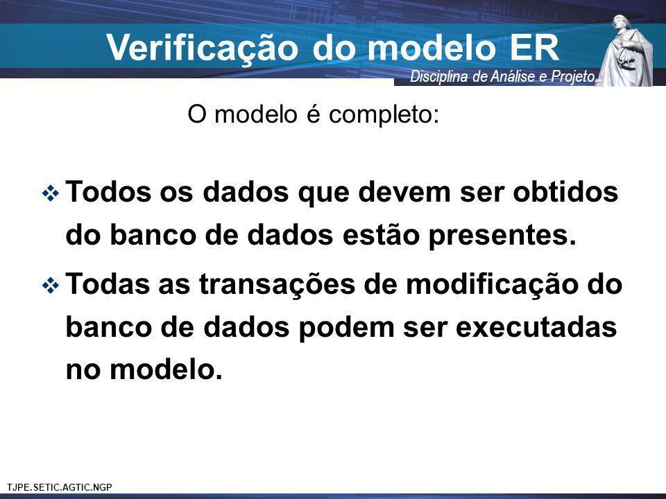 TJPE.SETIC.AGTIC.NGP Disciplina de Análise e Projeto Verificação do modelo ER O modelo é completo: Todos os dados que devem ser obtidos do banco de da