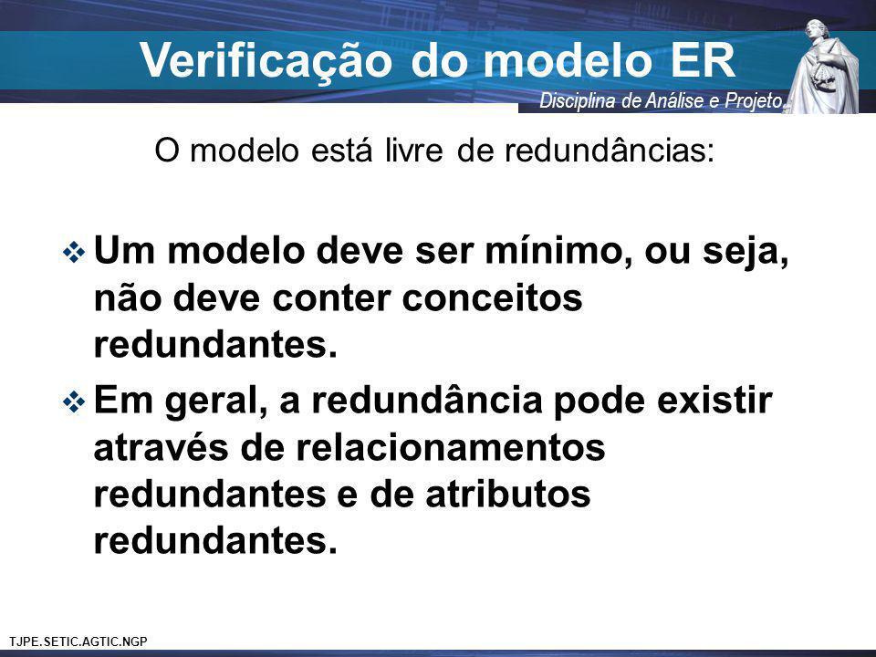 TJPE.SETIC.AGTIC.NGP Disciplina de Análise e Projeto Verificação do modelo ER O modelo está livre de redundâncias: Um modelo deve ser mínimo, ou seja,