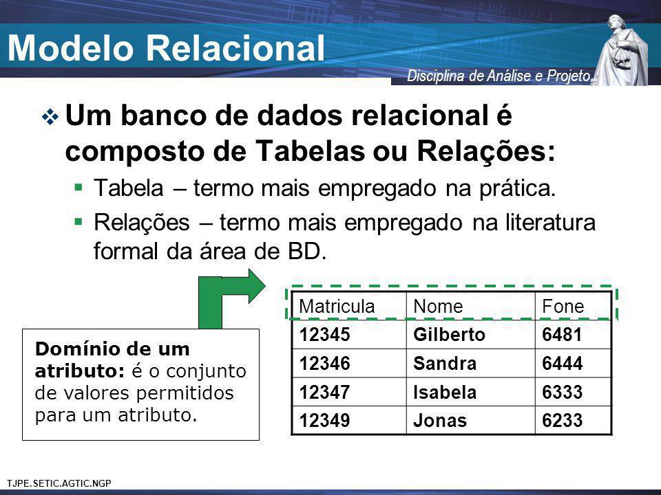 TJPE.SETIC.AGTIC.NGP Disciplina de Análise e Projeto Modelo Relacional Um banco de dados relacional é composto de Tabelas ou Relações: Tabela – termo