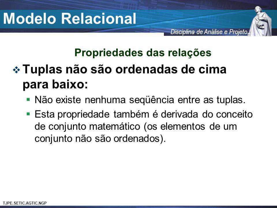 TJPE.SETIC.AGTIC.NGP Disciplina de Análise e Projeto Modelo Relacional Tuplas não são ordenadas de cima para baixo: Não existe nenhuma seqüência entre