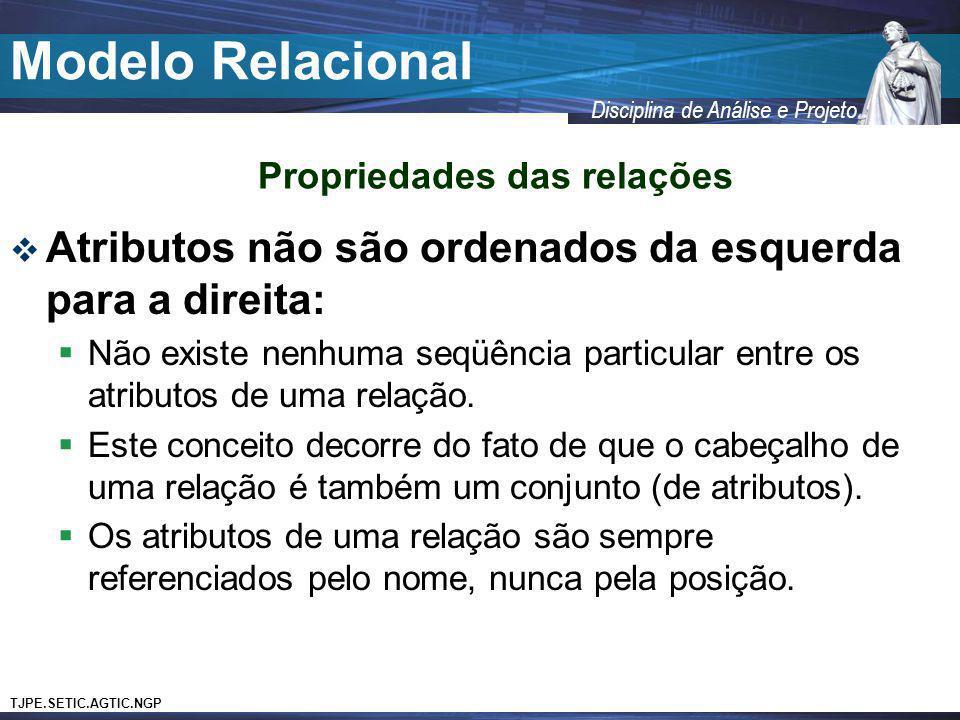 TJPE.SETIC.AGTIC.NGP Disciplina de Análise e Projeto Modelo Relacional Atributos não são ordenados da esquerda para a direita: Não existe nenhuma seqü