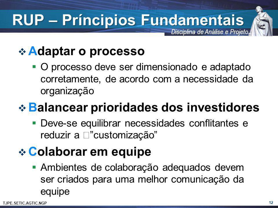 TJPE.SETIC.AGTIC.NGP Disciplina de Análise e Projeto RUP – Príncipios Fundamentais Adaptar o processo O processo deve ser dimensionado e adaptado corr