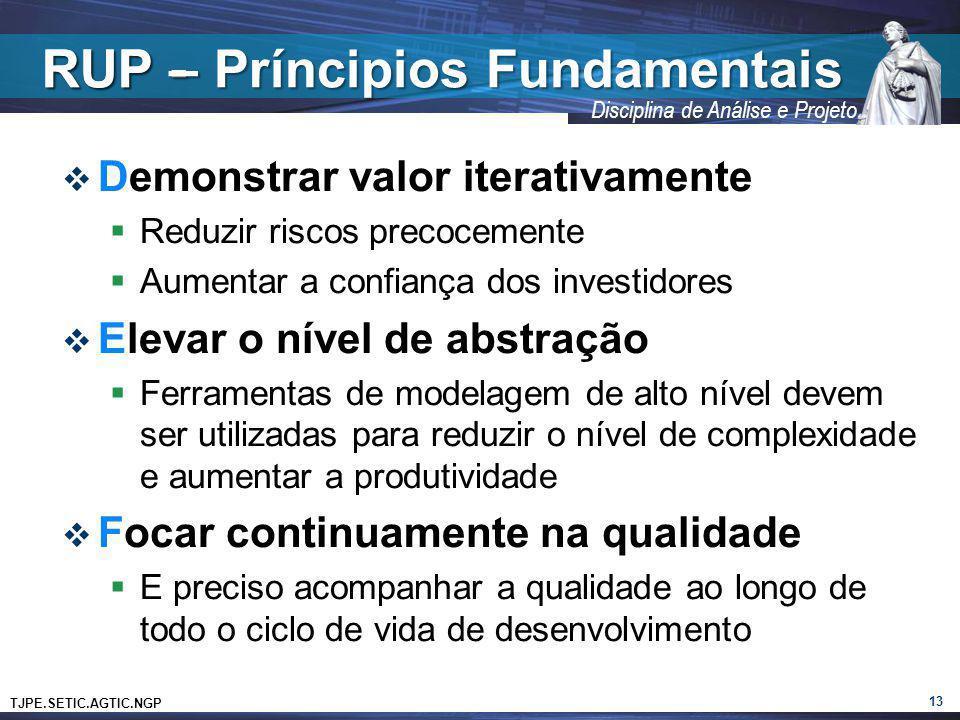 TJPE.SETIC.AGTIC.NGP Disciplina de Análise e Projeto RUP - Demonstrar valor iterativamente Reduzir riscos precocemente Aumentar a confiança dos invest