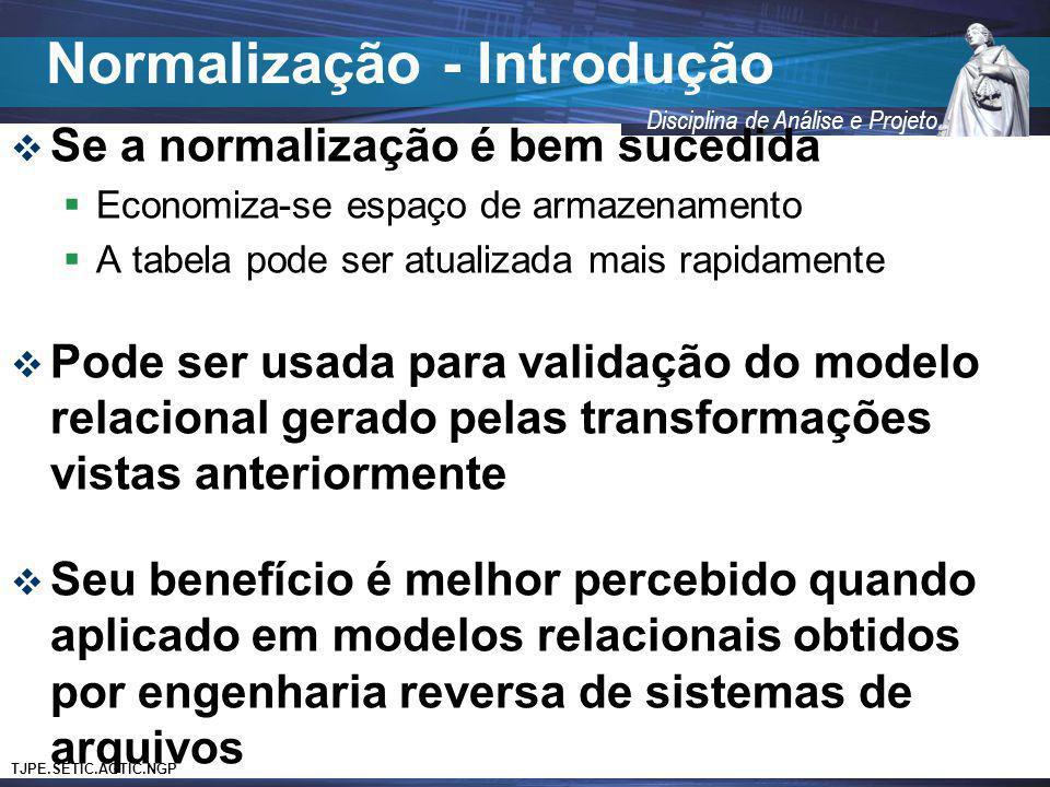 TJPE.SETIC.AGTIC.NGP Disciplina de Análise e Projeto Se a normalização é bem sucedida Economiza-se espaço de armazenamento A tabela pode ser atualizad