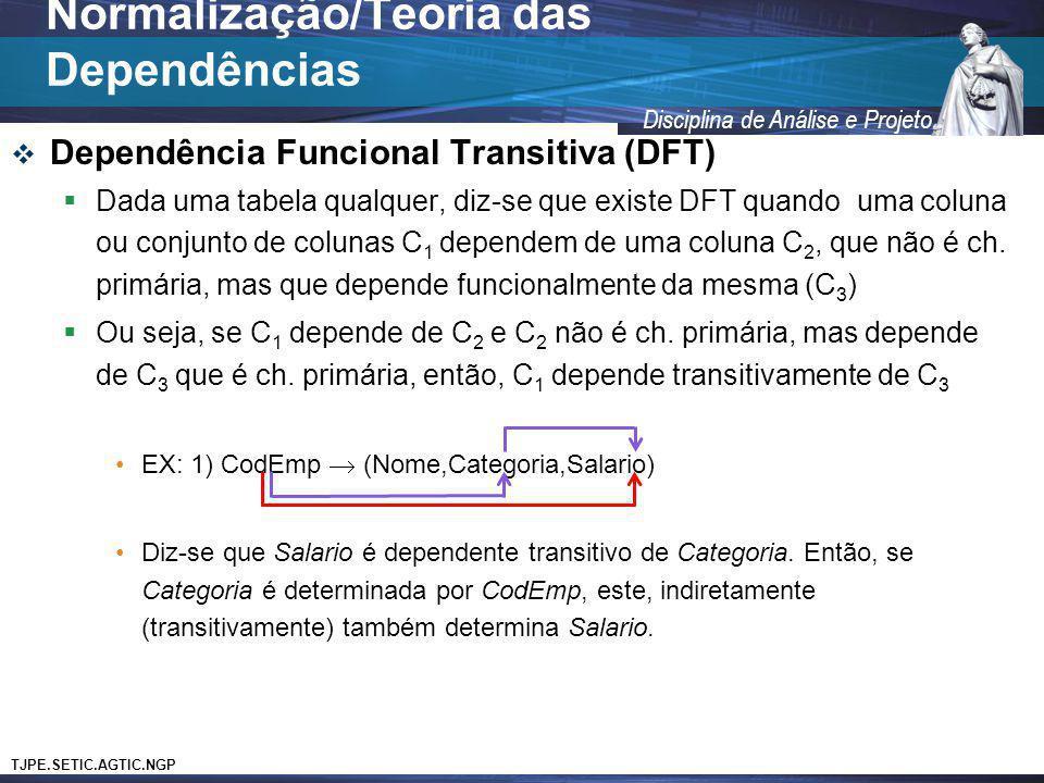 TJPE.SETIC.AGTIC.NGP Disciplina de Análise e Projeto Dependência Funcional Transitiva (DFT) Dada uma tabela qualquer, diz-se que existe DFT quando uma