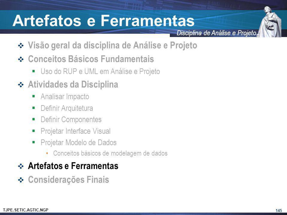 TJPE.SETIC.AGTIC.NGP Disciplina de Análise e Projeto Artefatos e Ferramentas Visão geral da disciplina de Análise e Projeto Conceitos Básicos Fundamen