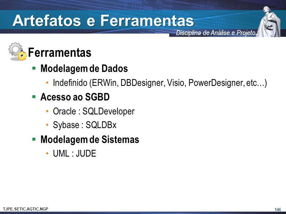 TJPE.SETIC.AGTIC.NGP Disciplina de Análise e Projeto Artefatos e Ferramentas Ferramentas Modelagem de Dados Indefinido (ERWin, DBDesigner, Visio, Powe
