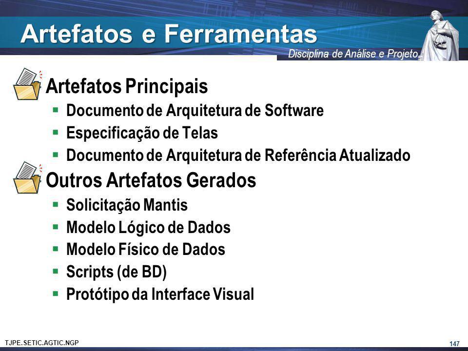 TJPE.SETIC.AGTIC.NGP Disciplina de Análise e Projeto Artefatos e Ferramentas Artefatos Principais Documento de Arquitetura de Software Especificação d