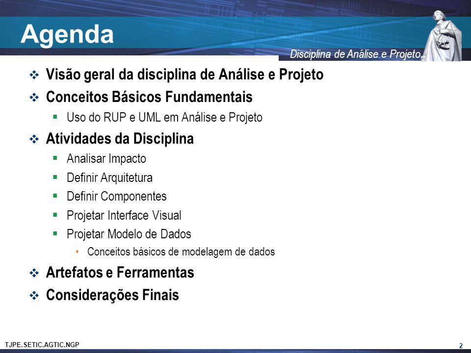 TJPE.SETIC.AGTIC.NGP Disciplina de Análise e Projeto Agenda Visão geral da disciplina de Análise e Projeto Conceitos Básicos Fundamentais Uso do RUP e