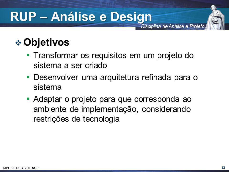 TJPE.SETIC.AGTIC.NGP Disciplina de Análise e Projeto RUP – Análise e Design Objetivos Transformar os requisitos em um projeto do sistema a ser criado