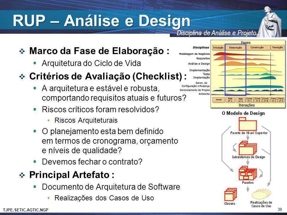 TJPE.SETIC.AGTIC.NGP Disciplina de Análise e Projeto RUP – Análise e Design Marco da Fase de Elaboração : Arquitetura do Ciclo de Vida Critérios de Av