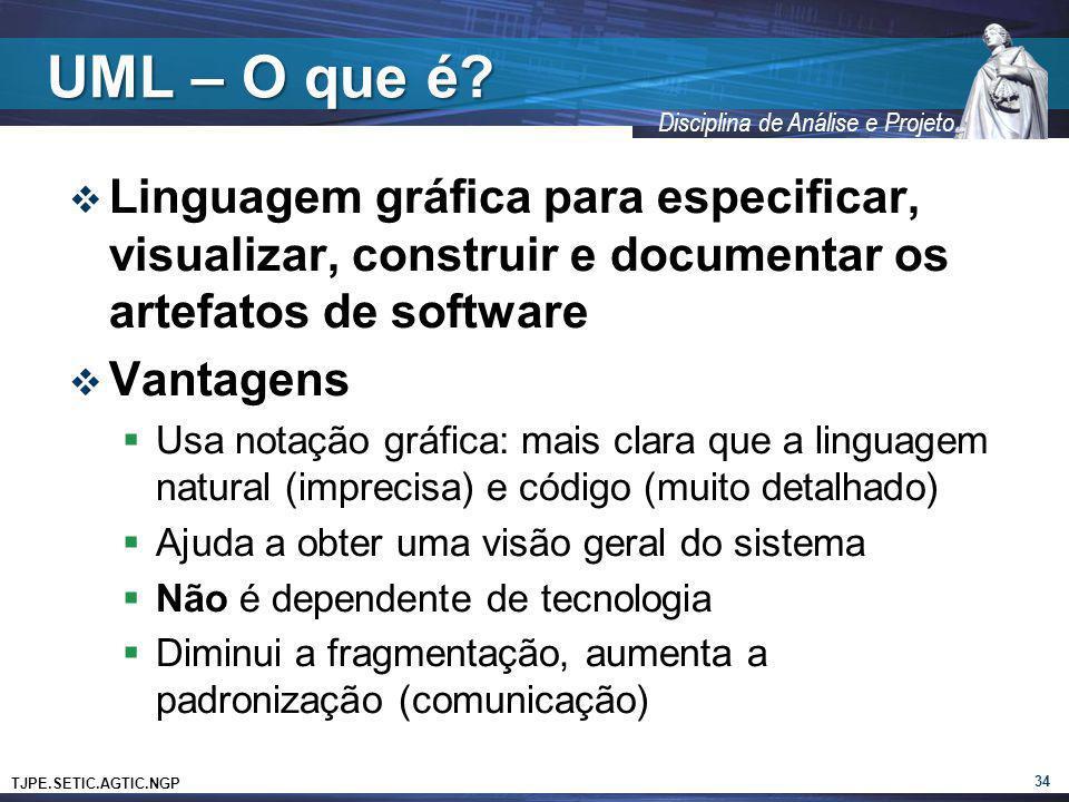 TJPE.SETIC.AGTIC.NGP Disciplina de Análise e Projeto UML – O que é? Linguagem gráfica para especificar, visualizar, construir e documentar os artefato