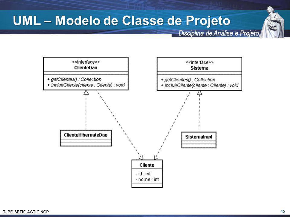 TJPE.SETIC.AGTIC.NGP Disciplina de Análise e Projeto UML – Modelo de Classe de Projeto 45