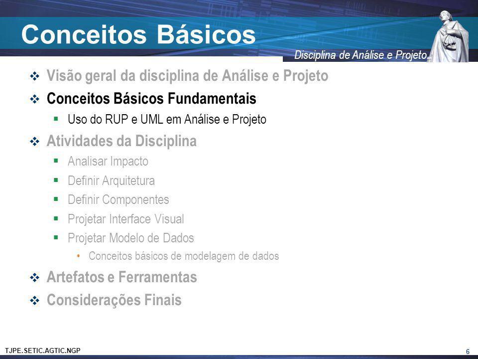 TJPE.SETIC.AGTIC.NGP Disciplina de Análise e Projeto Conceitos Básicos Visão geral da disciplina de Análise e Projeto Conceitos Básicos Fundamentais U