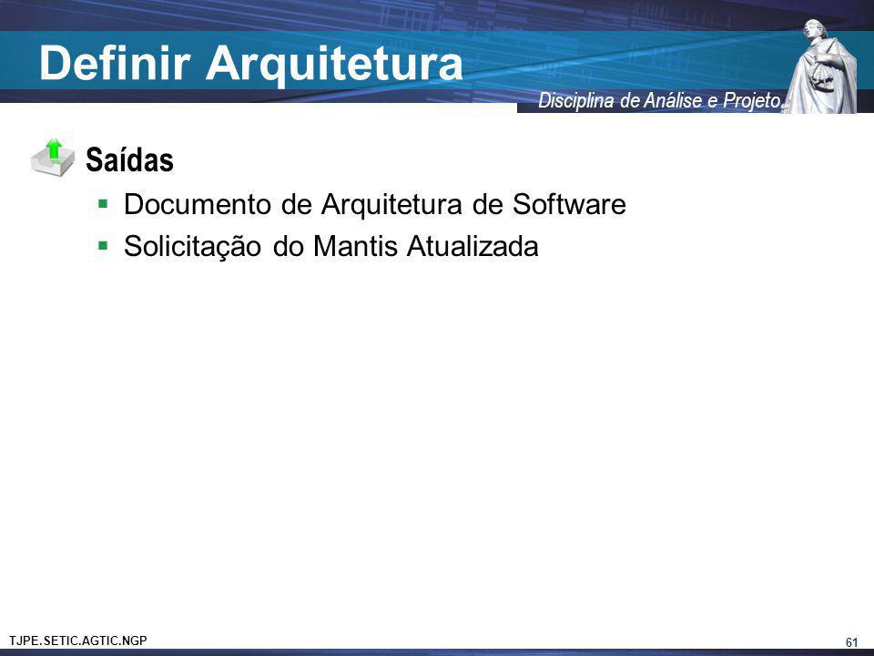 TJPE.SETIC.AGTIC.NGP Disciplina de Análise e Projeto Definir Arquitetura Saídas Documento de Arquitetura de Software Solicitação do Mantis Atualizada