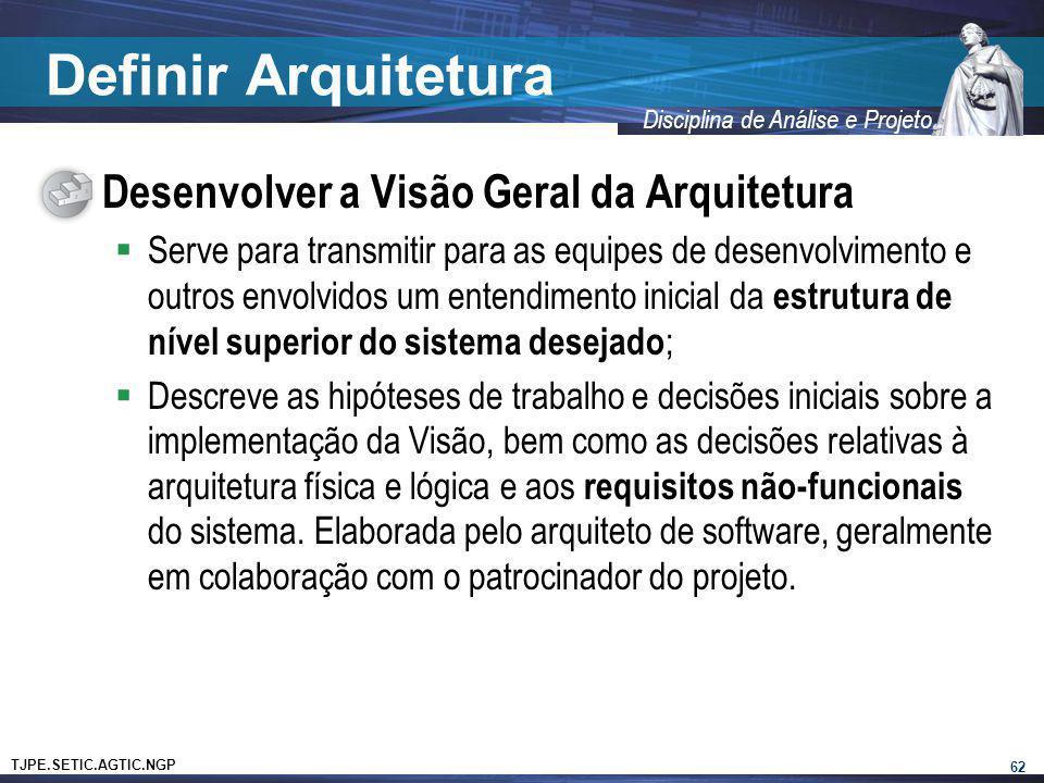 TJPE.SETIC.AGTIC.NGP Disciplina de Análise e Projeto Definir Arquitetura Desenvolver a Visão Geral da Arquitetura Serve para transmitir para as equipe