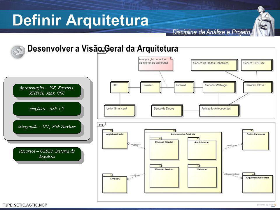 TJPE.SETIC.AGTIC.NGP Disciplina de Análise e Projeto Definir Arquitetura Desenvolver a Visão Geral da Arquitetura 63