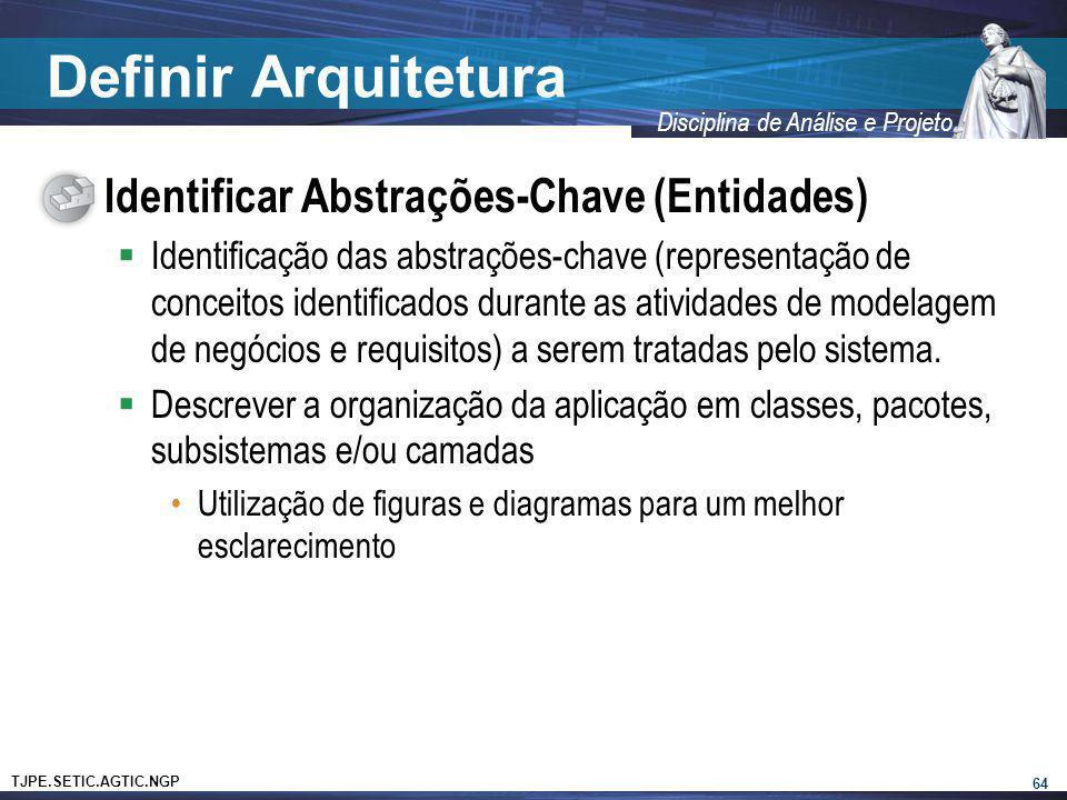 TJPE.SETIC.AGTIC.NGP Disciplina de Análise e Projeto Definir Arquitetura Identificar Abstrações-Chave (Entidades) Identificação das abstrações-chave (