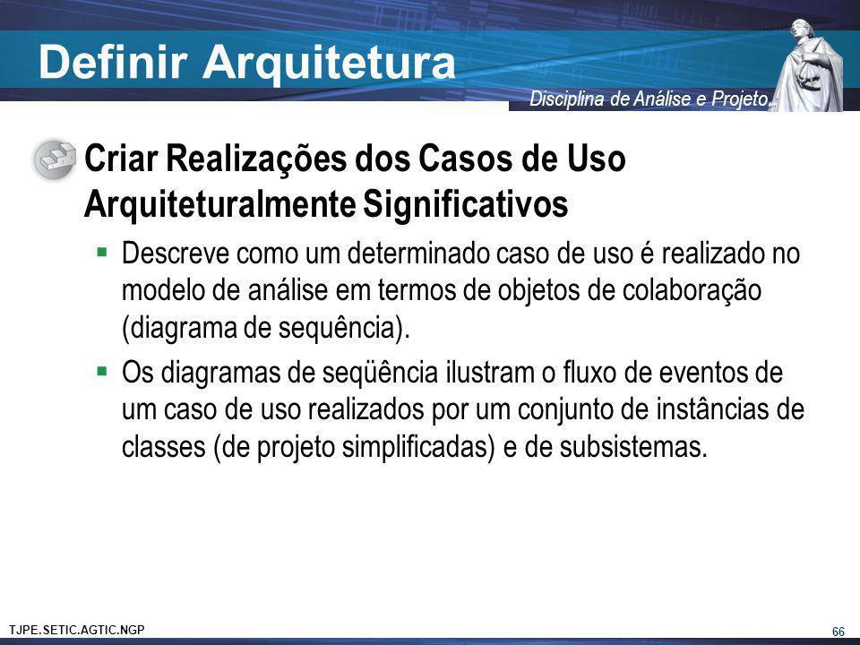 TJPE.SETIC.AGTIC.NGP Disciplina de Análise e Projeto Definir Arquitetura Criar Realizações dos Casos de Uso Arquiteturalmente Significativos Descreve