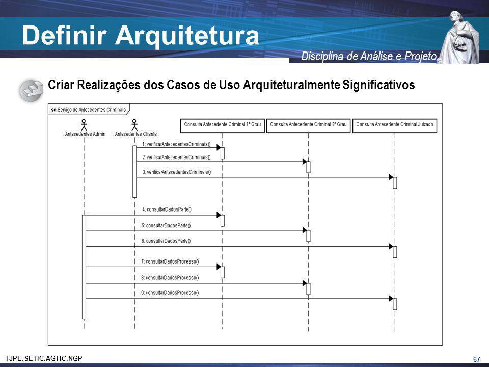 TJPE.SETIC.AGTIC.NGP Disciplina de Análise e Projeto Definir Arquitetura Criar Realizações dos Casos de Uso Arquiteturalmente Significativos 67
