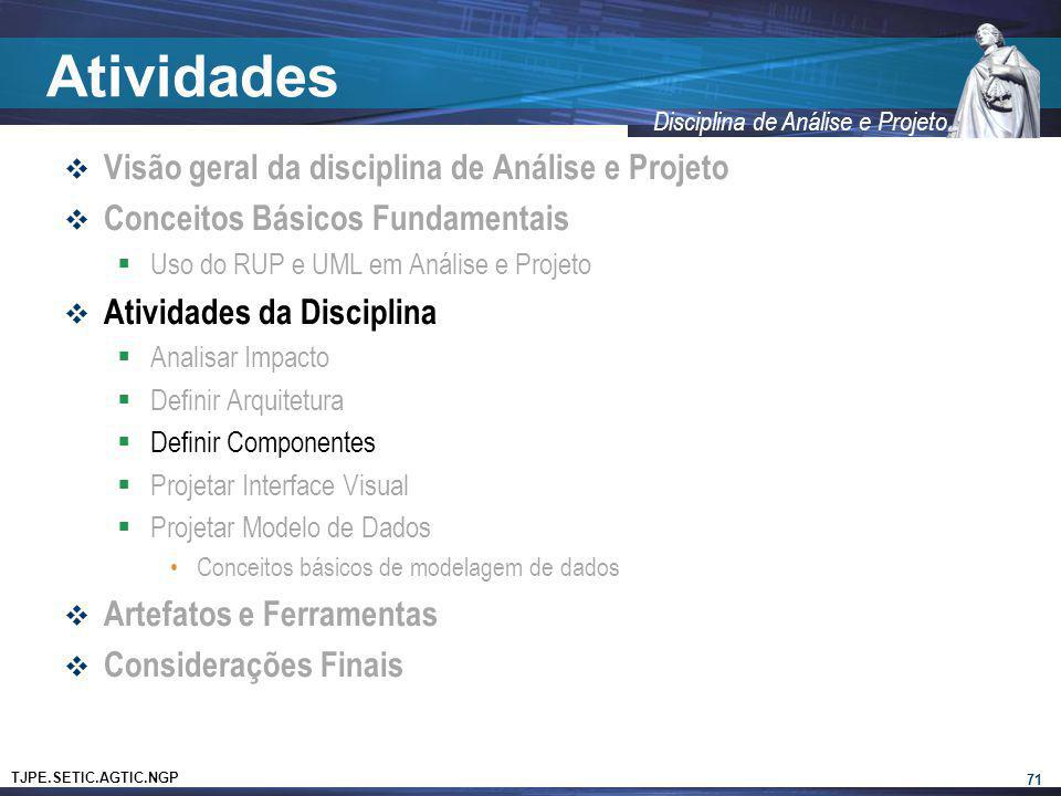TJPE.SETIC.AGTIC.NGP Disciplina de Análise e Projeto Atividades Visão geral da disciplina de Análise e Projeto Conceitos Básicos Fundamentais Uso do R
