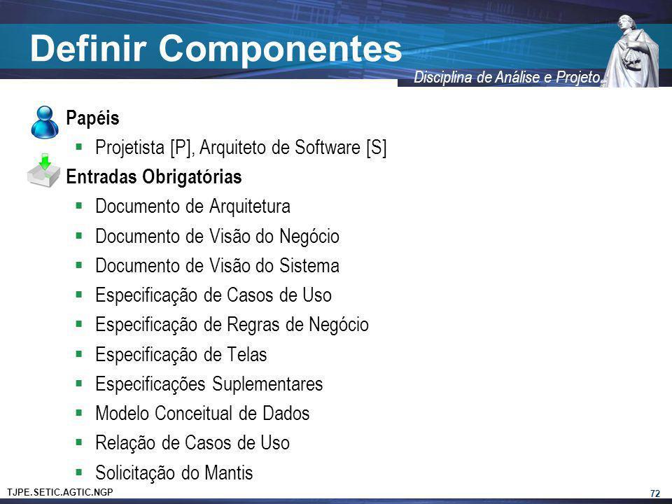 TJPE.SETIC.AGTIC.NGP Disciplina de Análise e Projeto Definir Componentes Papéis Projetista [P], Arquiteto de Software [S] Entradas Obrigatórias Docume