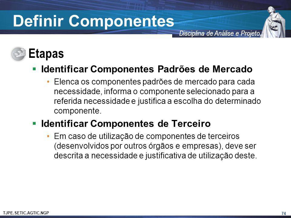 TJPE.SETIC.AGTIC.NGP Disciplina de Análise e Projeto Definir Componentes Etapas Identificar Componentes Padrões de Mercado Elenca os componentes padrõ