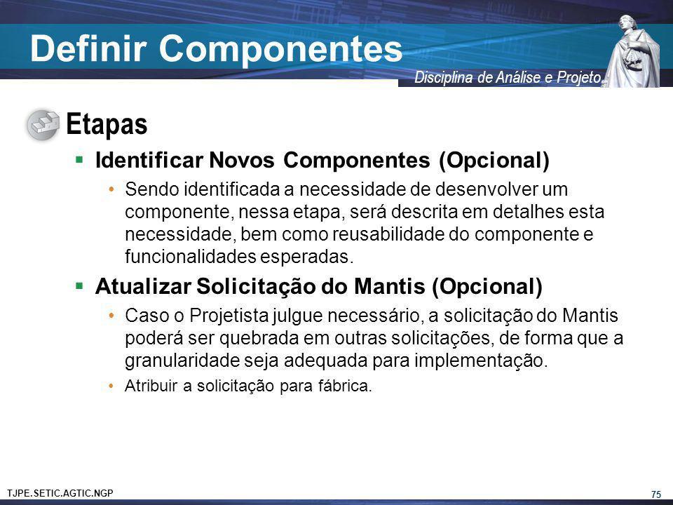 TJPE.SETIC.AGTIC.NGP Disciplina de Análise e Projeto Definir Componentes Etapas Identificar Novos Componentes (Opcional) Sendo identificada a necessid