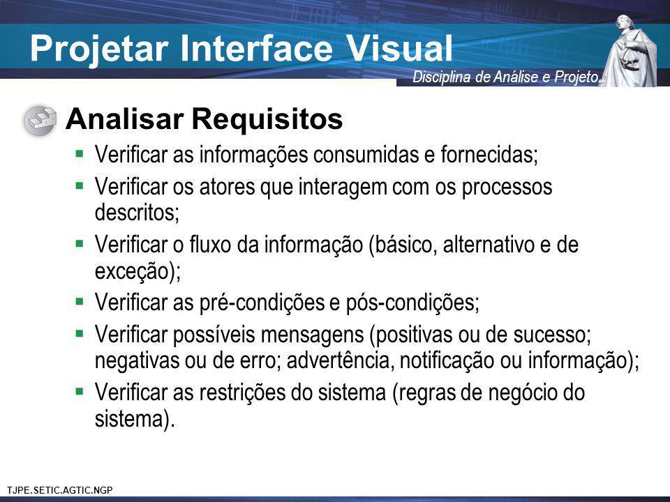 TJPE.SETIC.AGTIC.NGP Disciplina de Análise e Projeto Projetar Interface Visual Analisar Requisitos Verificar as informações consumidas e fornecidas; V