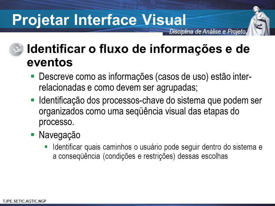 TJPE.SETIC.AGTIC.NGP Disciplina de Análise e Projeto Projetar Interface Visual Identificar o fluxo de informações e de eventos Descreve como as inform