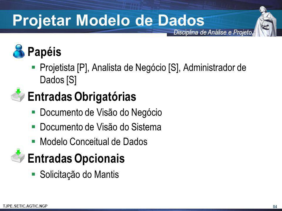 TJPE.SETIC.AGTIC.NGP Disciplina de Análise e Projeto Projetar Modelo de Dados Papéis Projetista [P], Analista de Negócio [S], Administrador de Dados [