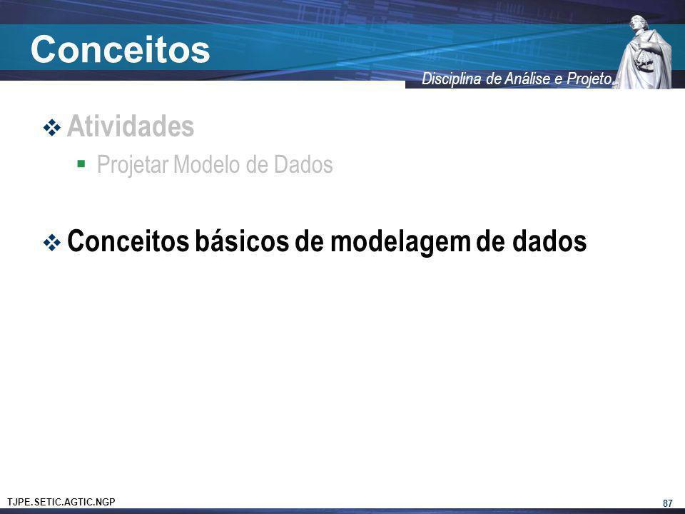 TJPE.SETIC.AGTIC.NGP Disciplina de Análise e Projeto Conceitos Atividades Projetar Modelo de Dados Conceitos básicos de modelagem de dados 87