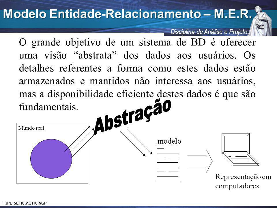 TJPE.SETIC.AGTIC.NGP Disciplina de Análise e Projeto Modelo Entidade-Relacionamento – M.E.R. O grande objetivo de um sistema de BD é oferecer uma visã