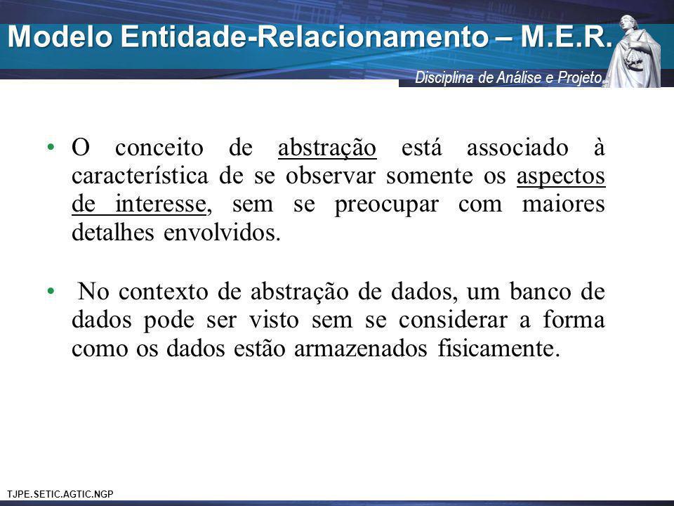 TJPE.SETIC.AGTIC.NGP Disciplina de Análise e Projeto Modelo Entidade-Relacionamento – M.E.R. O conceito de abstração está associado à característica d