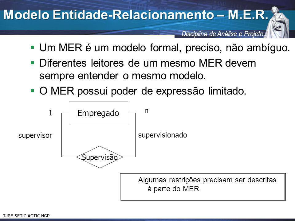 TJPE.SETIC.AGTIC.NGP Disciplina de Análise e Projeto Um MER é um modelo formal, preciso, não ambíguo. Diferentes leitores de um mesmo MER devem sempre